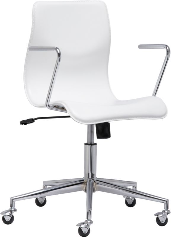 Bubble White Leather Office Chair In Office Furniture | CB2 ($229) Bubble  White Leather