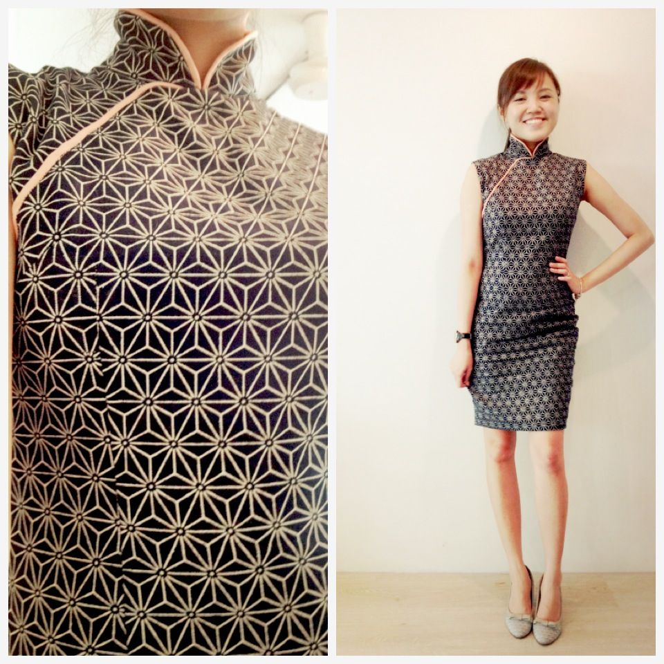 0b93597c56 My 2015 cheongsam made with cotton fabric with a modern geometric print !   chinesedress  cheongsam  qipao  geometric