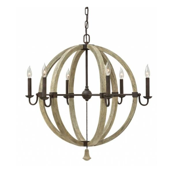 Purchase The Rustic Chic Wine Barrel Middlefield Orb Chandelier With Arms In