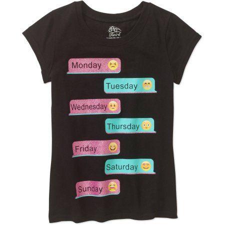 c7874f90 Girls' Emoji Text Short Sleeve Crew Neck Graphic T-Shirt, Black ...