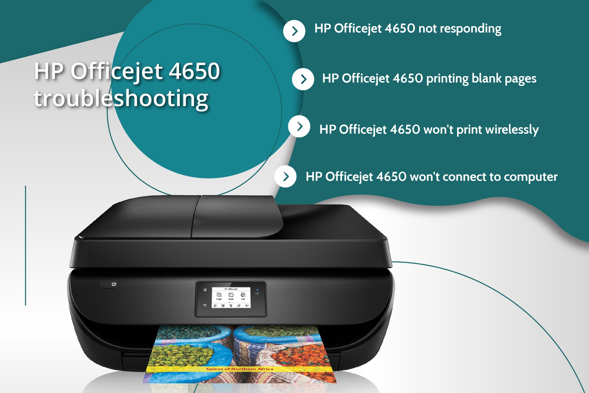 HP Officejet 4650 printer common issues such us printer not