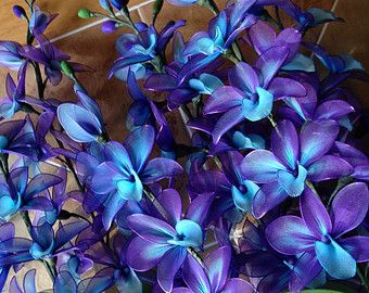 Purple And Blue Orchid Flowers Stem Nylon By Thecallendersflowers