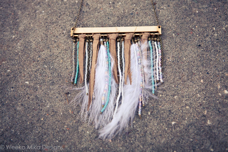 Southwestern Boho Beaded and Feathered Fringe Necklace. $36.00, via Etsy.