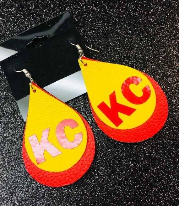 Kansas City Chiefs Leather Earrings Etsy Etsy earrings