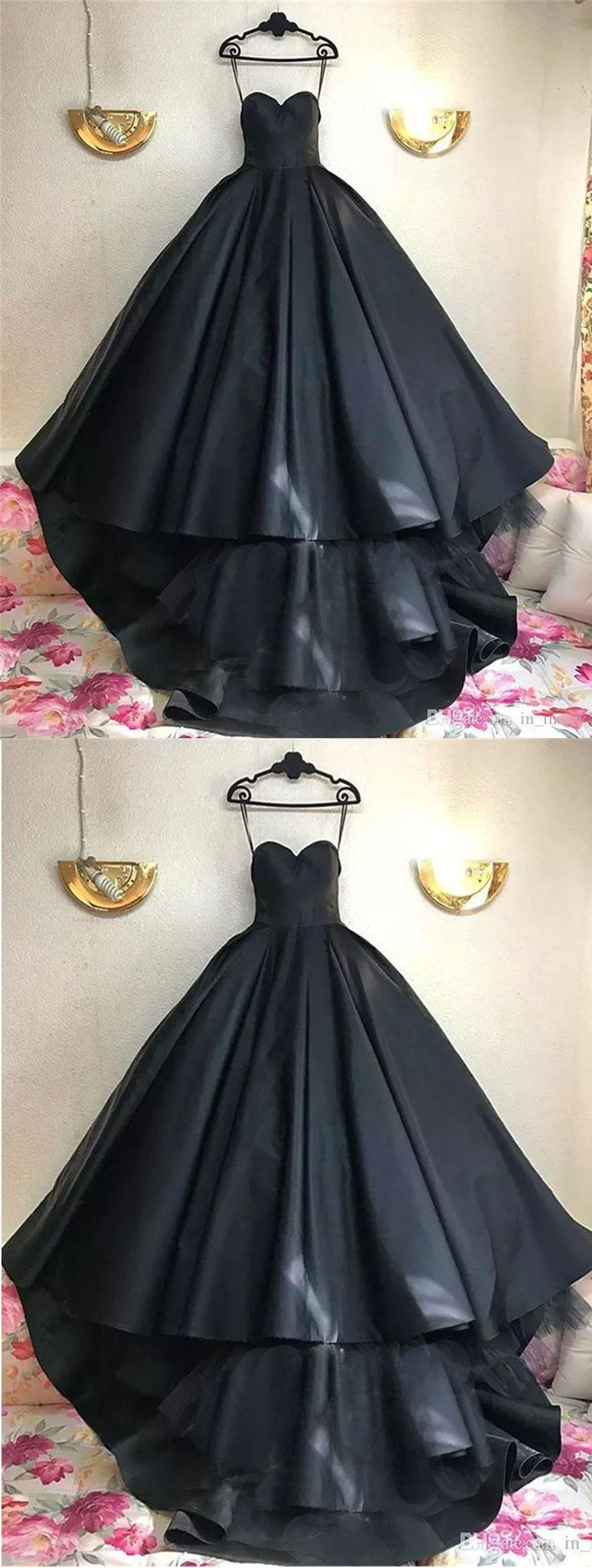 Black prom dresses ball gown sweetheart sweep train sexy prom dress