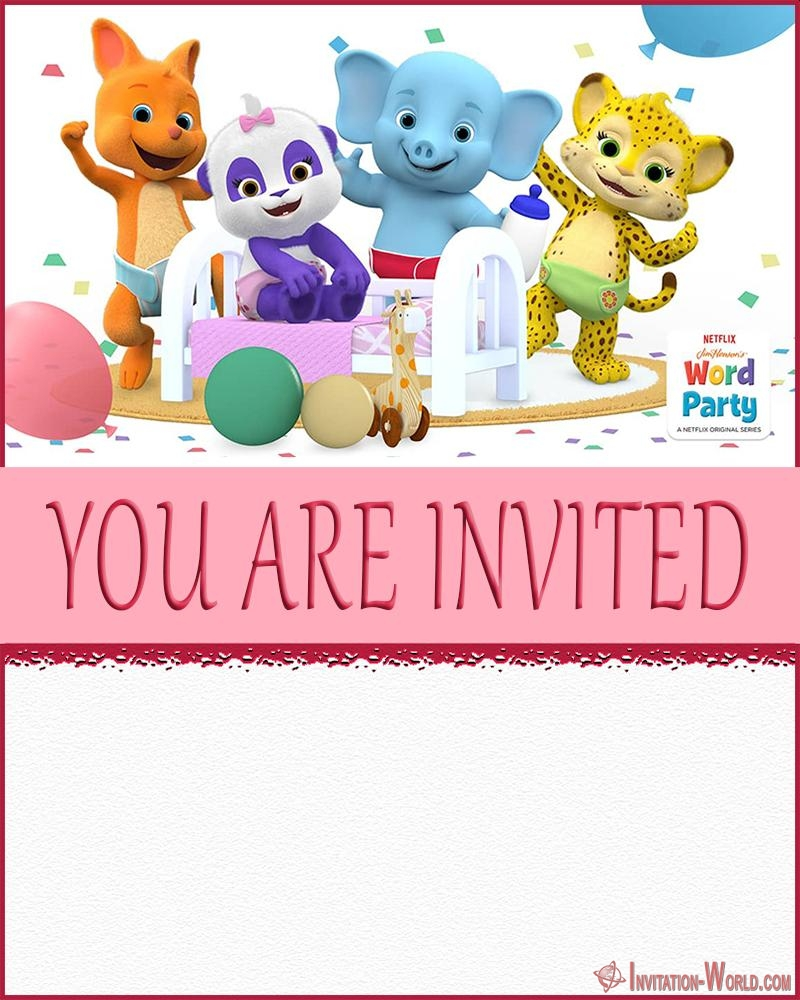 Word Party Invitation Cards  Invitation World  Party invite