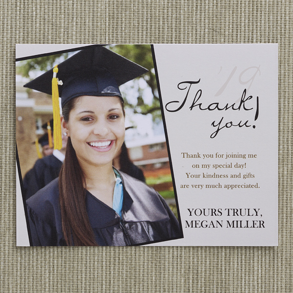 refined graduate custom thank you cards  graduation thank
