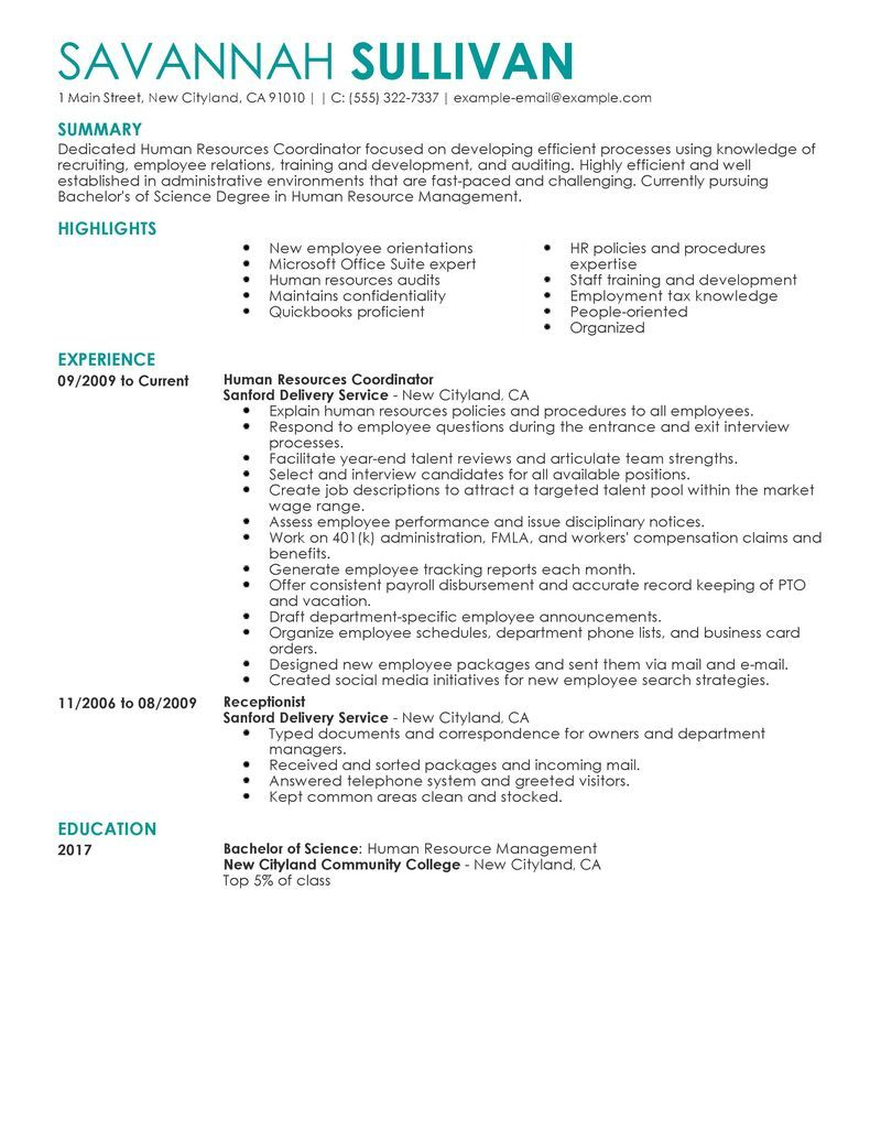 Human Resources Resume Samples Template Captivating Sample Create