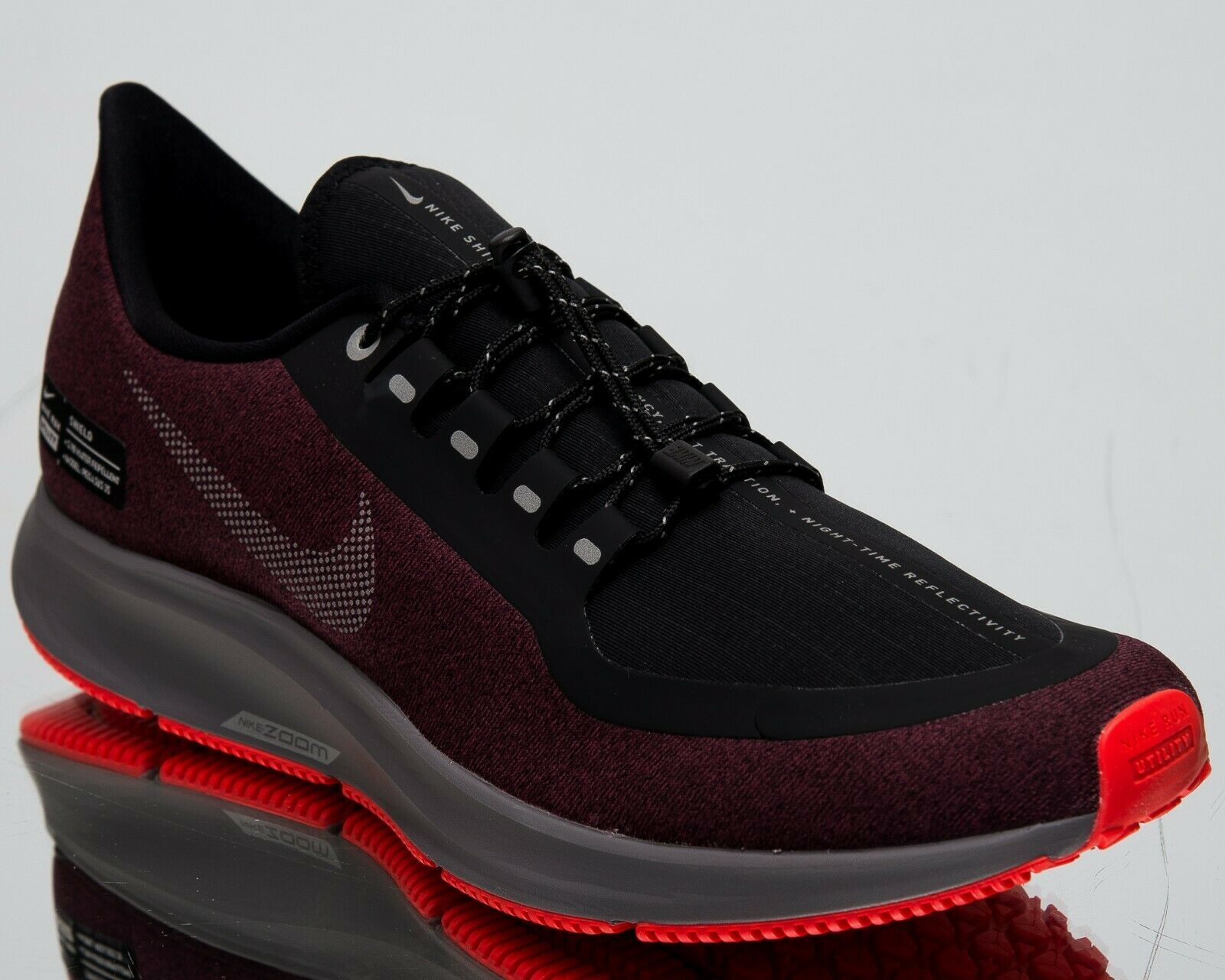 Nike Air Zoom Pegasus 35 Shield New Men S Running Shoes Black Silver Aa1643 004 Nike Nikeair Best Running Shoes Running Shoes For Men Black Running Shoes