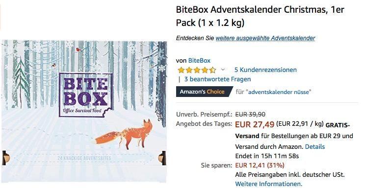 Bitebox Christmas Adventskalender Mit 24 Hochwertigen Snacks Mit Bildern Adventkalender Adventskalender Advent