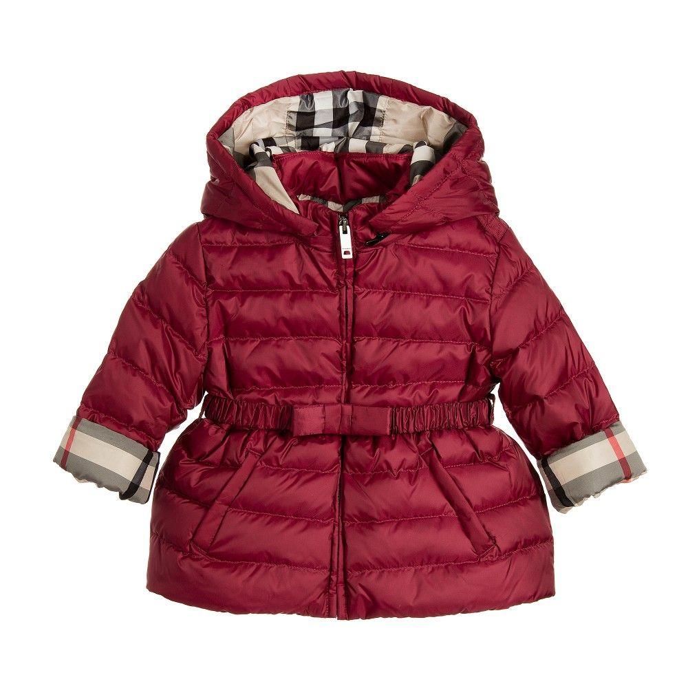Baby Girls Dark Pink Down Padded Jacket with Hood | Babies, Girls ...
