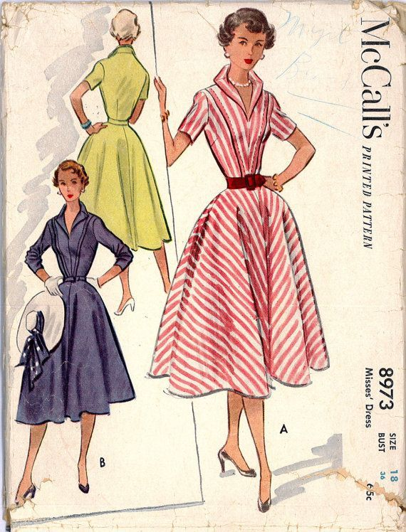 Vintage 1950s V Neck Rockabilly Pinup Dress Sewing Pattern McCall\'s ...