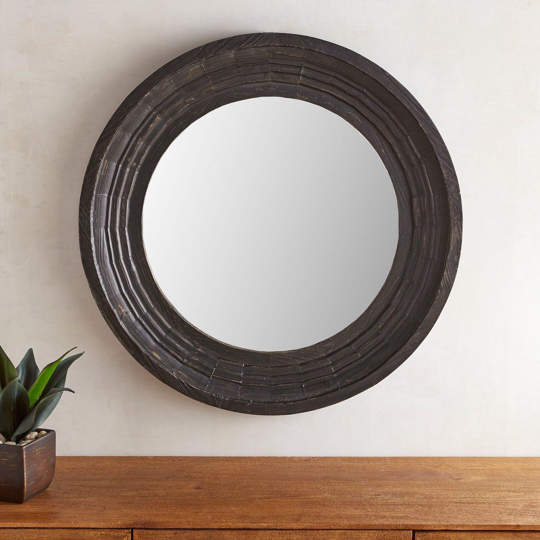 Bailey farmhouse black 36 round mirror black round