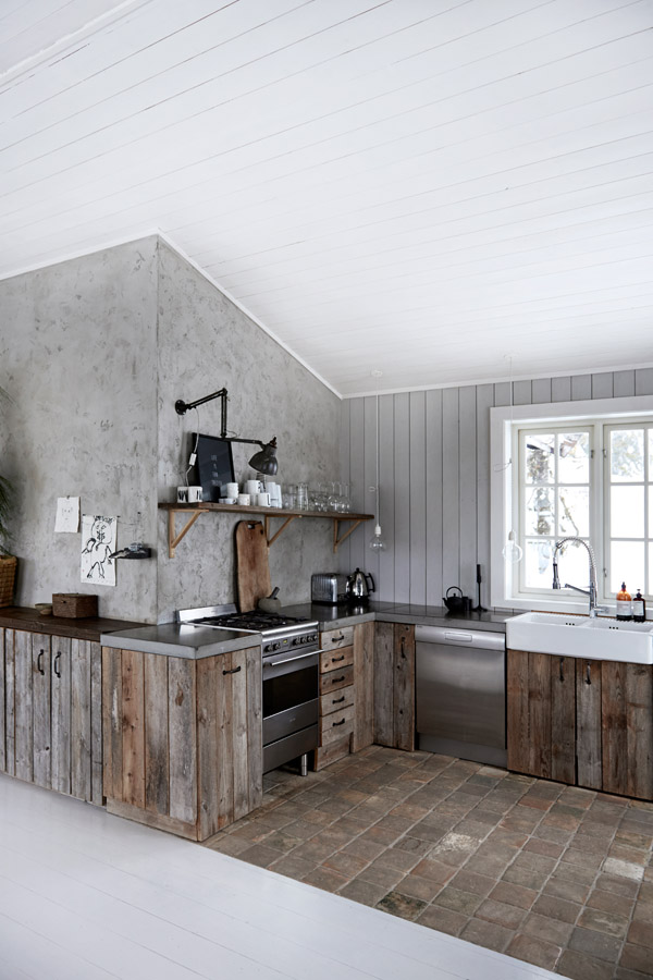 Norwegian Cabin With Wood And Concrete Elements Kitchen