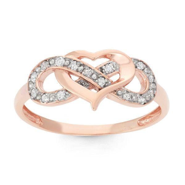 David Tutera 10k Rose Gold .15ct TDW Diamond Heart Ring ($291) ❤ Liked