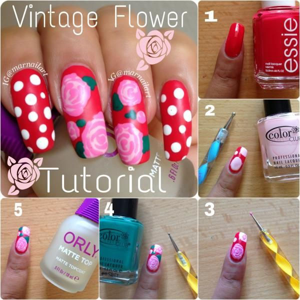 #Vintage Flower #Nailart, Lovely :)