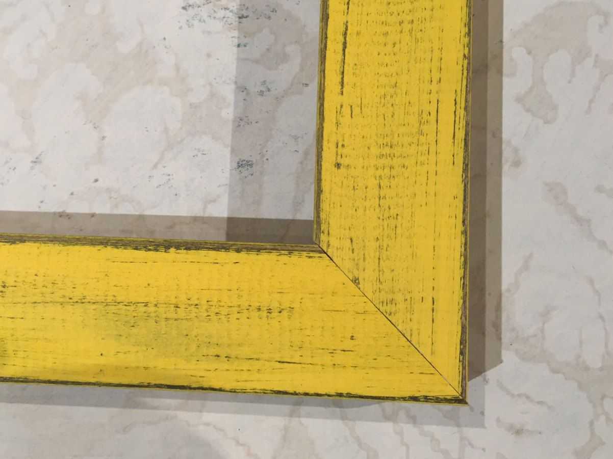 Rustic Wood Yellow Picture Frame - 4x4, 4x5, 5x7, 8x8, 8x10 ...
