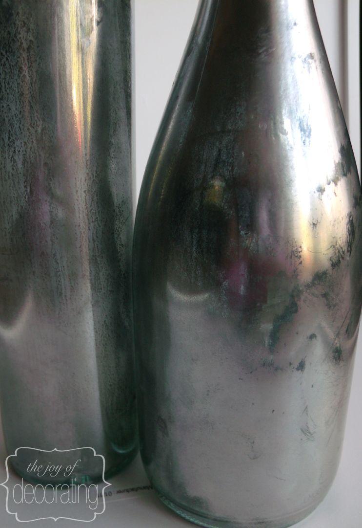 Faux mercury glass bottles