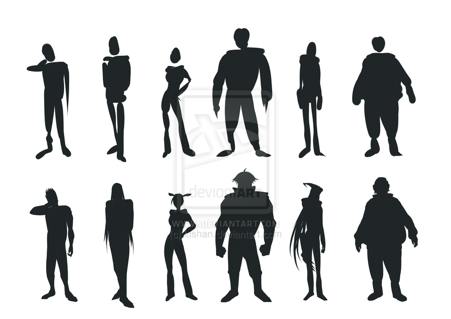 Character Design Silhouette : Character silhouette practice by lushan viantart on
