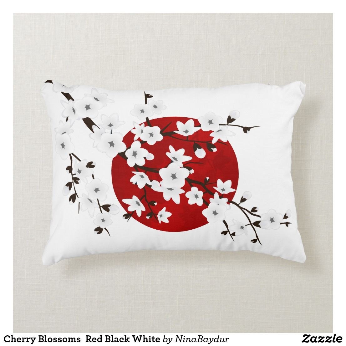 Cherry Blossoms Red Black White Accent Pillow Zazzle Com White Accent Pillow Black And Red Decorative Throw Pillows