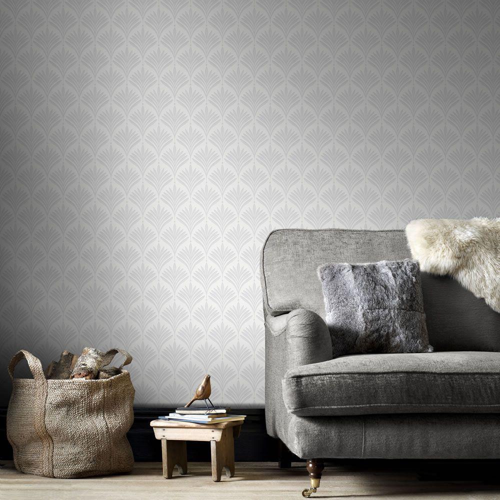 Superfresco Easy Wallpaper Bonnie Geo White and Si lver