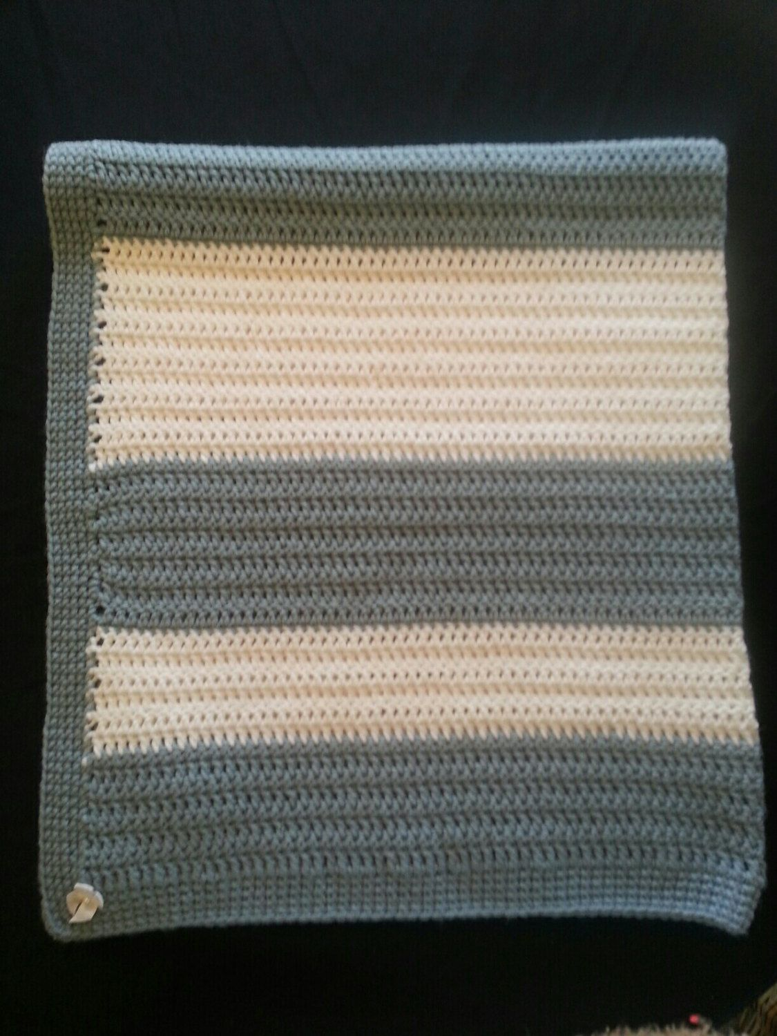 Crocheted Baby Blanket, Soft, Handcrafted, Blue and White Baby Blanket, Baby Bedding by littlecritterhats16 on Etsy