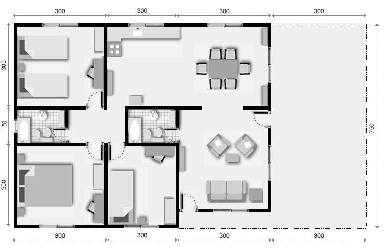 planos de casas 3 piezas