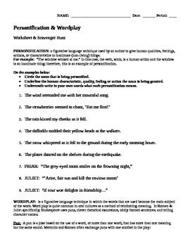 romeo juliet personification and wordplay worksheet  romeo juliet personification and wordplay worksheet scavenger hunt