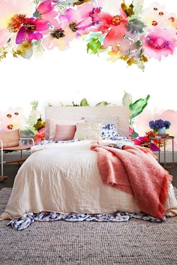 Floral Wall Mural Removable Wall Paper Peel Stick Mural Etsy Wall Decals For Bedroom Floral Wall Girl Nursery Wallpaper