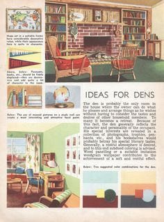 Ideas For Dens Mid Century Decor 1950s House Interior Design Furniture  Furnishings Vintage House Interior Design