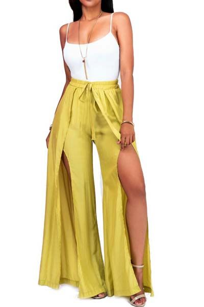 e5299de6ca54 Spaghetti Strap Top and Double Slit Wide Leg Pants