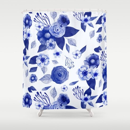 Blue And White Floral Shower Curtain China Pattern Shower Curtain