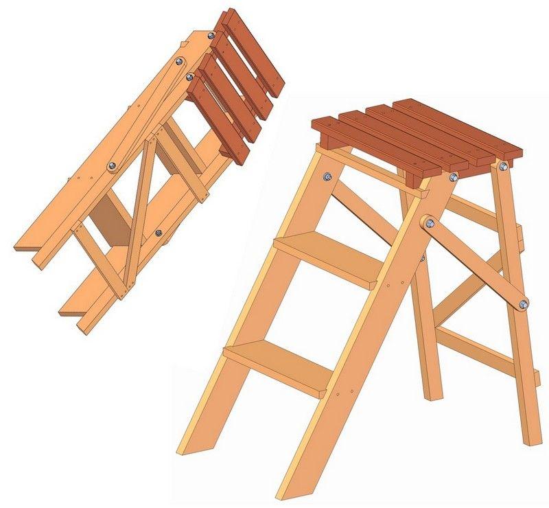 Folding Step Ladder Plan Stool Woodworking Plans