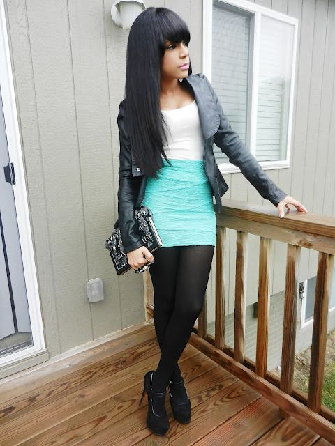 Turquoise skirt ideas, Love the black Jacket
