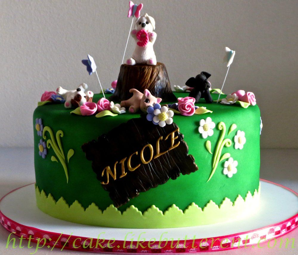 Puppies In The Garden Cake | Yelp http://cake.likebutterent.com