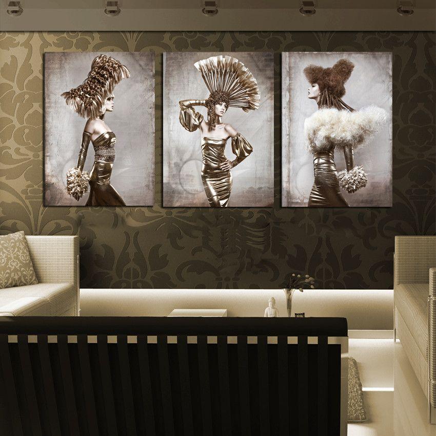 3 Piece Canvas Art Ancient Figure Painting Fashion Models Women Pictures  Printed Wall Decor Beauty Salon
