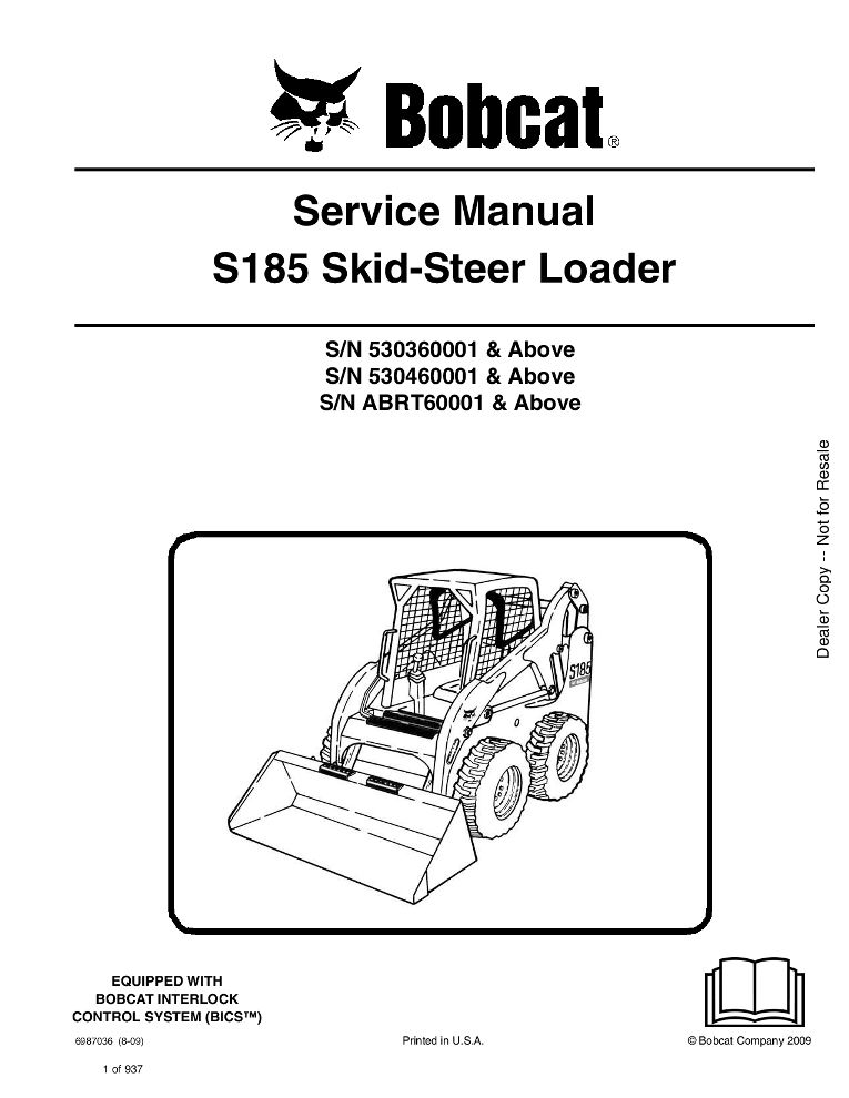Bobcat S185 Skid Steer Loader Service Manual 8 09 Pdf Download Service Manual Repair Manual Pdf Download Skid Steer Loader Operation And Maintenance Repair Manuals