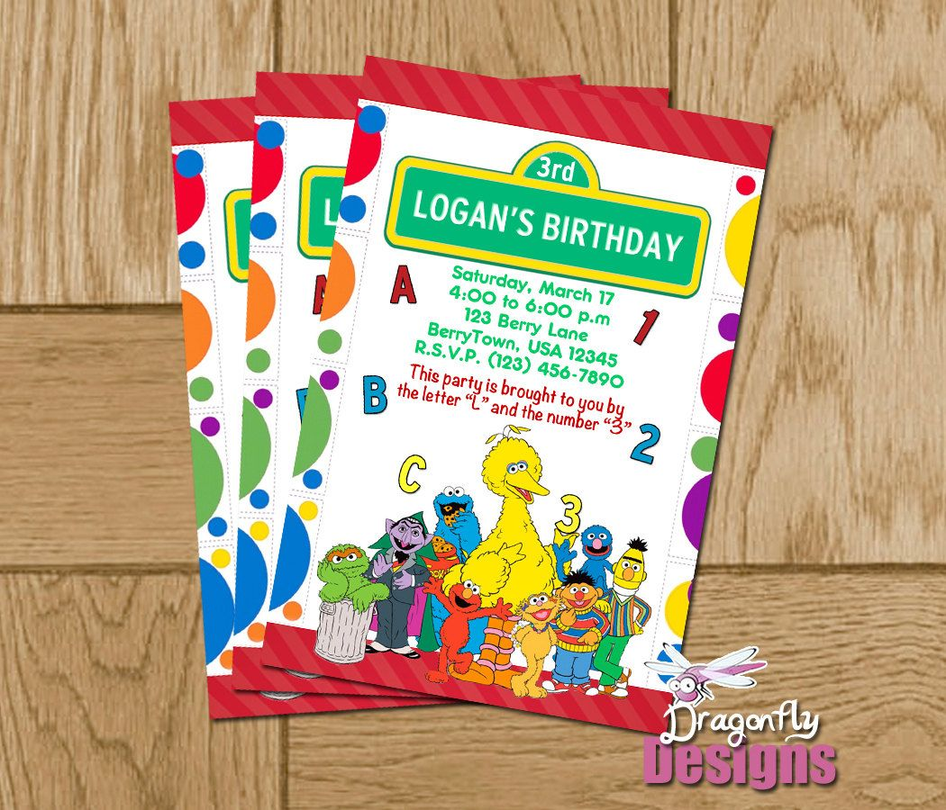 Printable Sesame Street Group Personalized Birthday Invitations