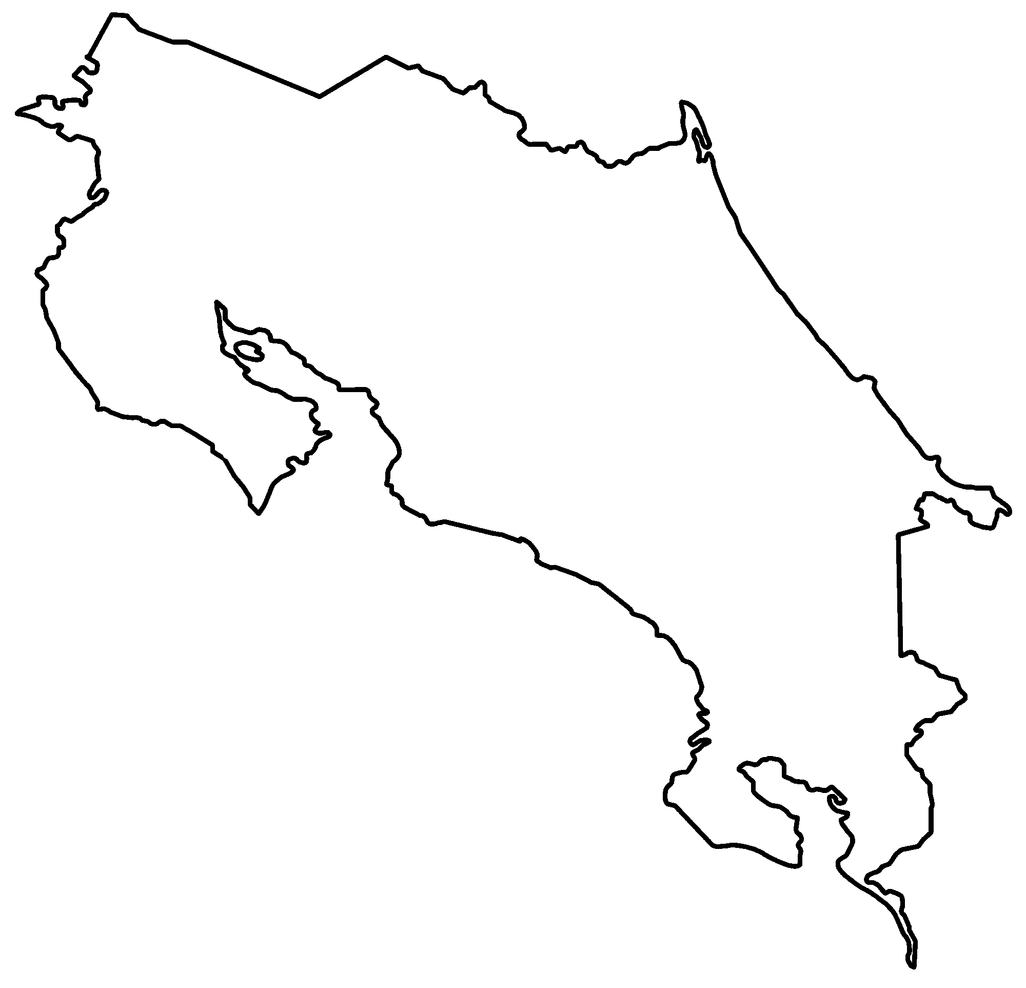 Costa Rica Map Political Costa Rica Map Outlineblank - Map of costa rica world