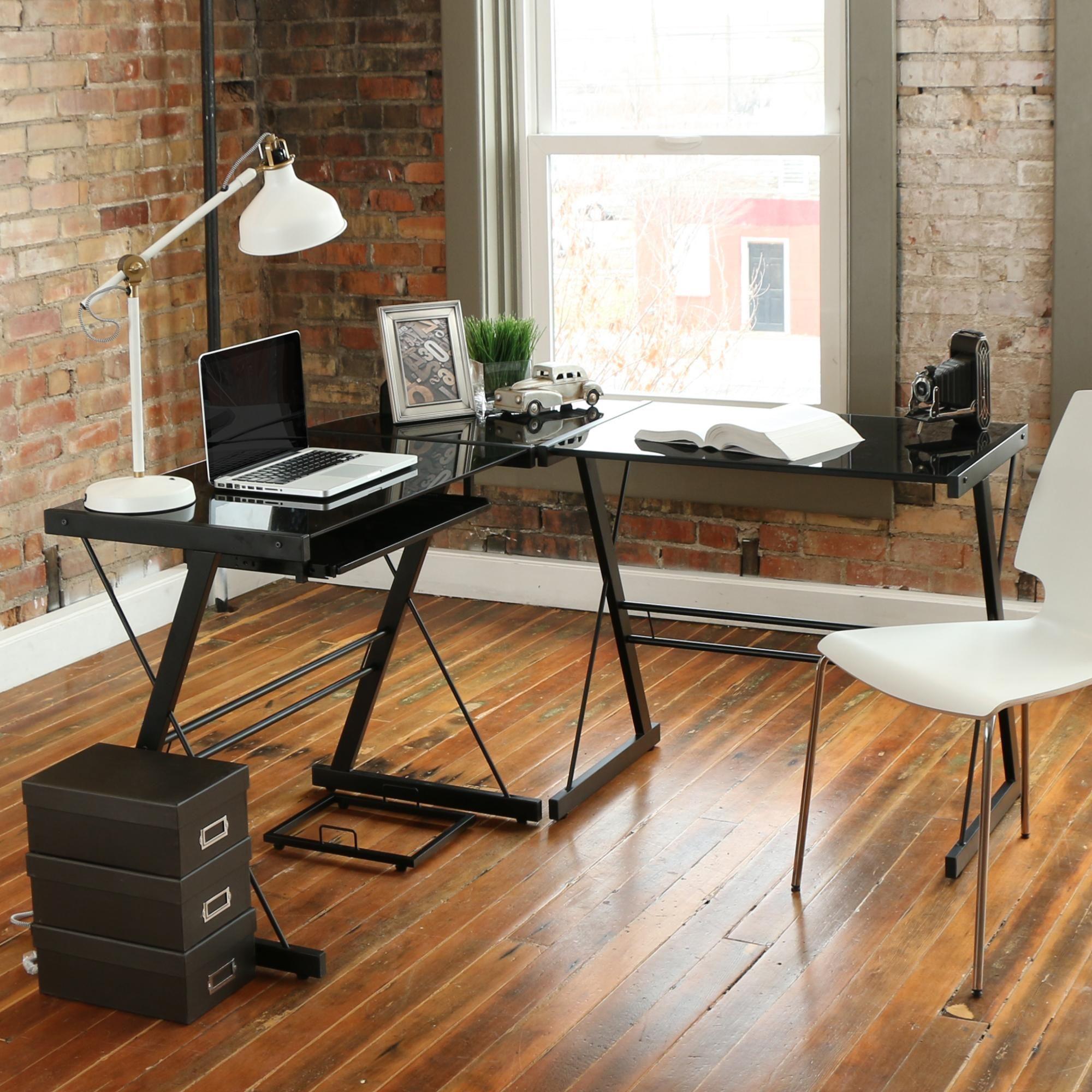 Flexible And Modern Gl Metal Corner Computer Desk Multiple Colors Black