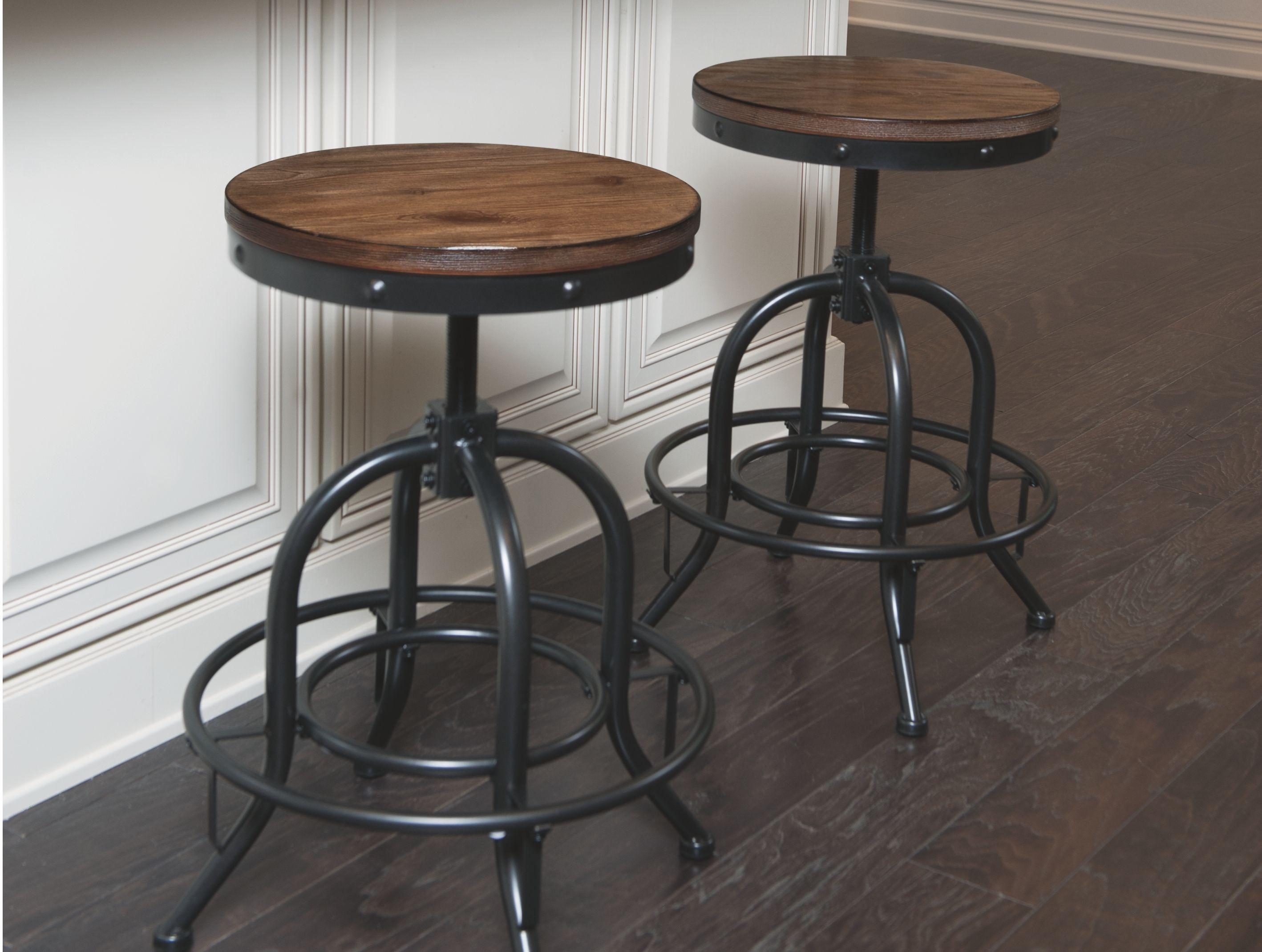 Pinnadel Counter Height Bar Stool Set Of 2 Light Brown