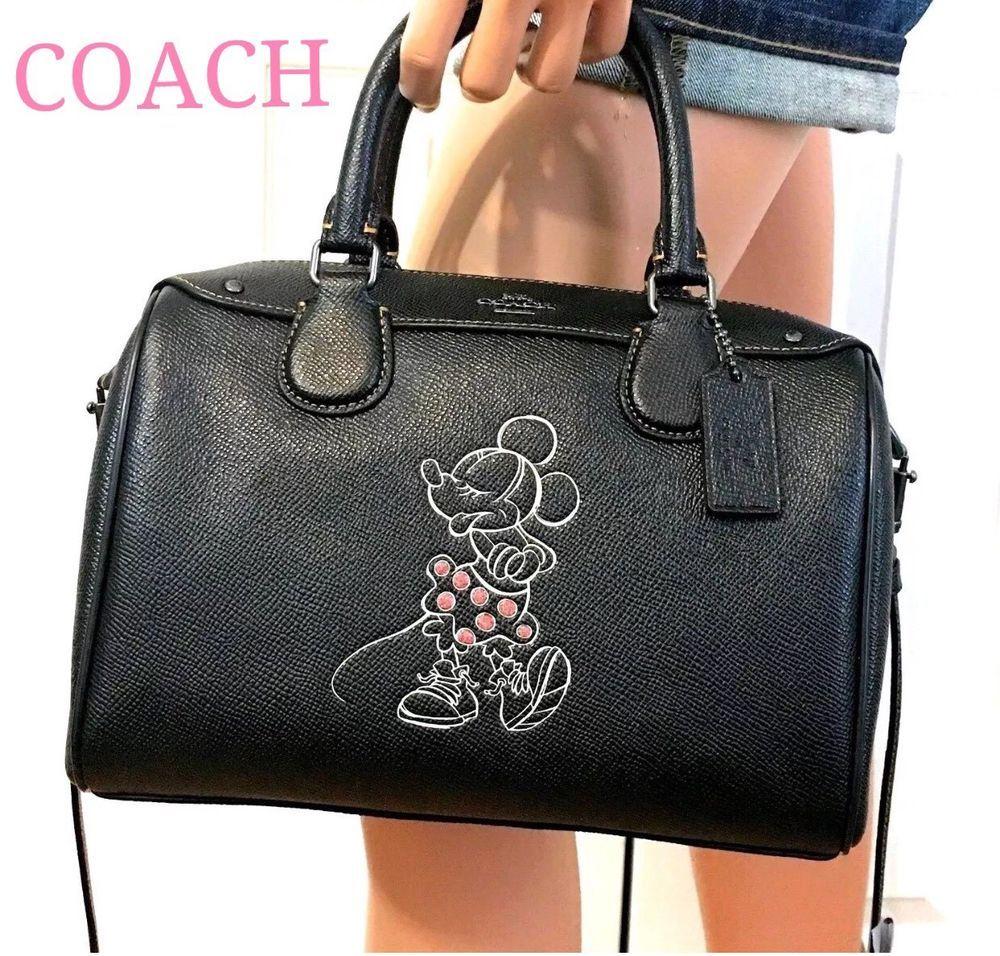 2e843f5e4 Coach Disney Minnie Mouse Handbag Black Leather Bennett Speedy Satchel NWT  $350 191202716636 | eBay