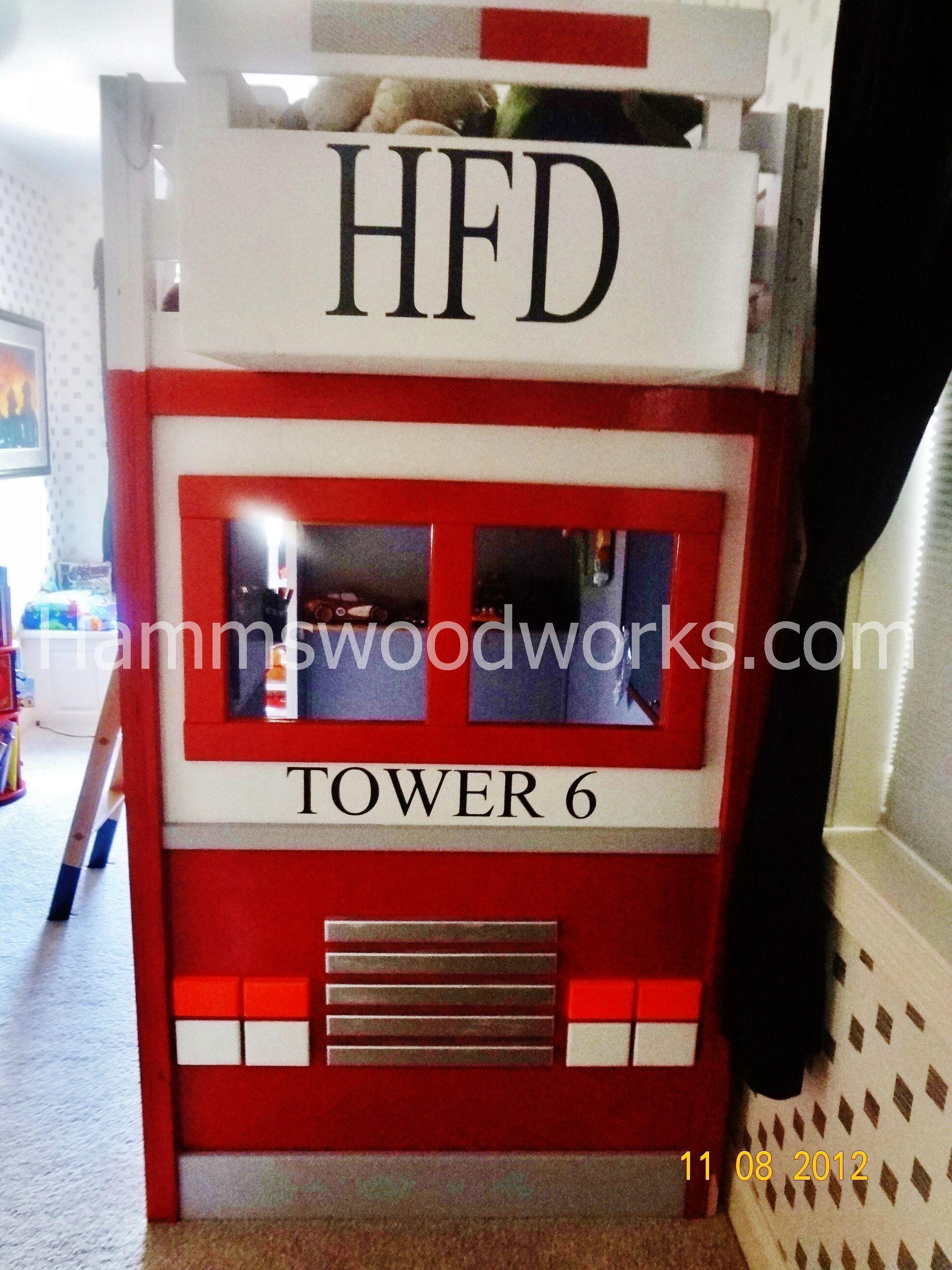Front View of Wooden Firetruck/Ladder Truck Loft Bed Like