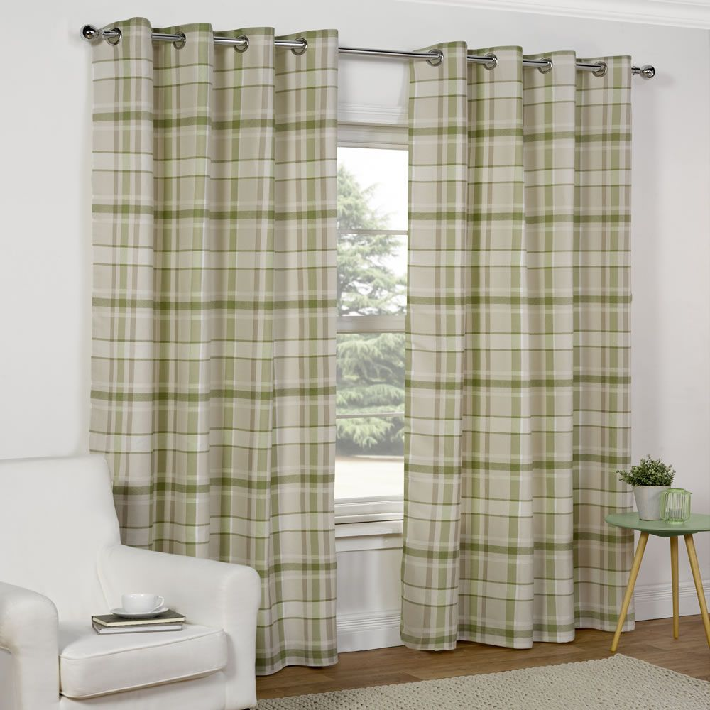 Wilko Curtains Green Check 167x183cm