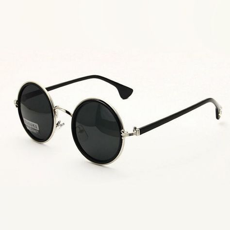 6a7e2b05de Retro Round Polarized Sunglasses For Men   Women Silver Metal Circle Frame  Gray Lens Circular Hipster Glasses