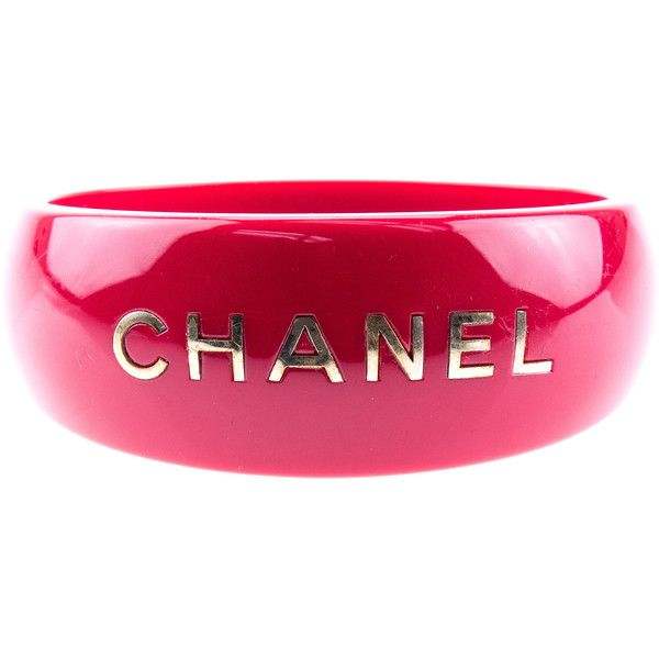 b5f9b5f2765 Pre-owned Chanel Red Resin Wide Logo Cuff Bangle ( 395) ❤ liked on Polyvore  featuring jewelry