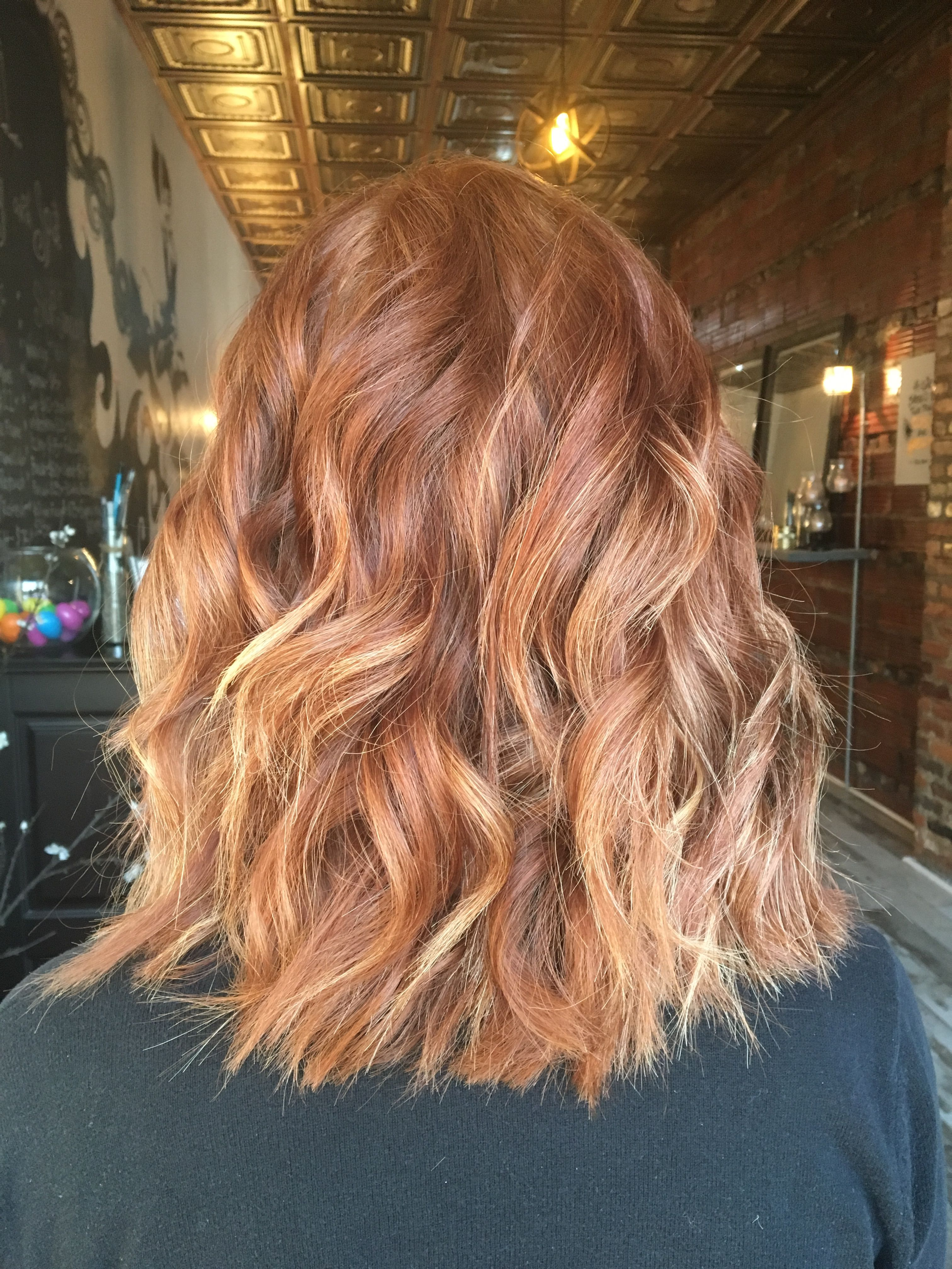 Natural Red Hair With Subtle Blonde Bayalage Highlights My Style
