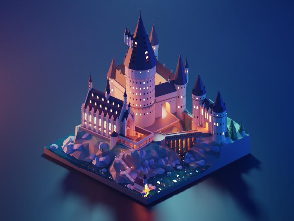 Hogwarts Castle Isometric Art Hogwarts Hogwarts Castle