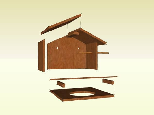 bauanleitung f r eine berdachte vogeltr nke bird feeder vogelhaus futterhaus. Black Bedroom Furniture Sets. Home Design Ideas