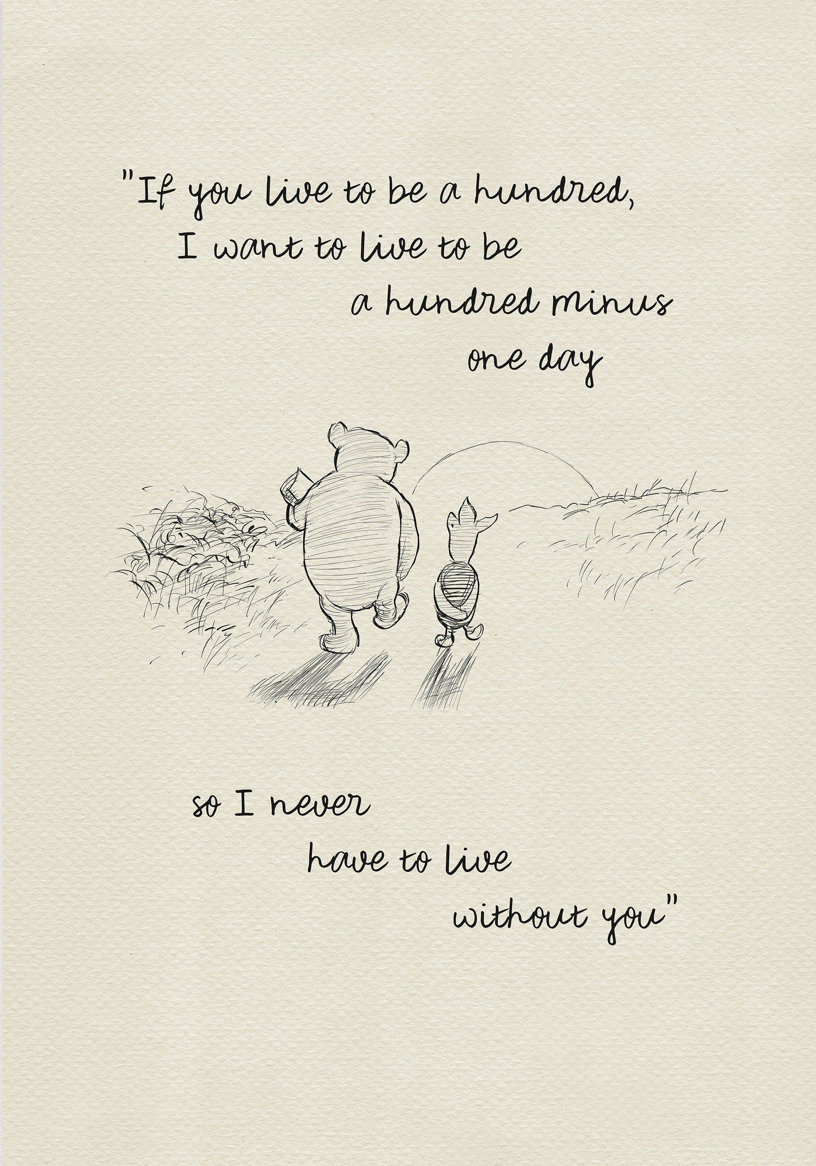 If you live to be one hundred...   Pooh Quotes classic vintage   Etsy